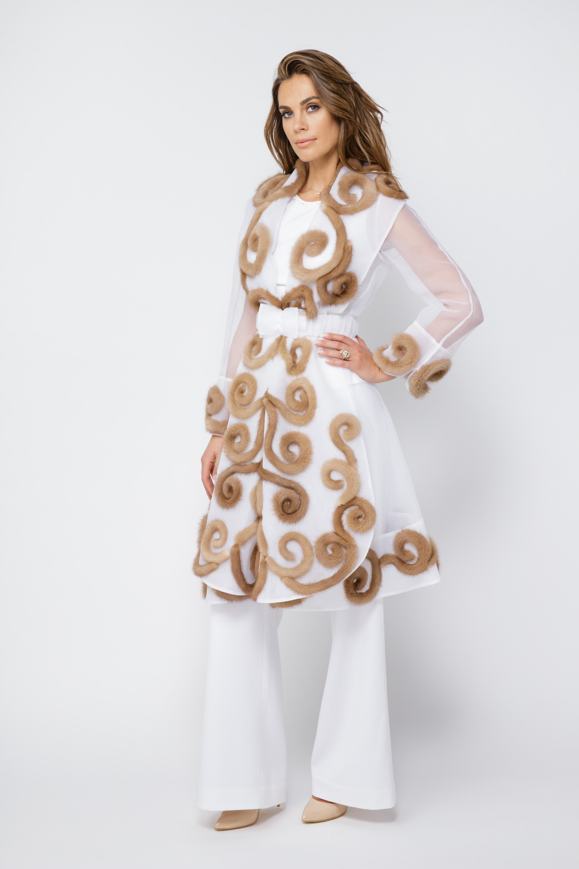 Gorgeous Organza Coat With Mink Fur