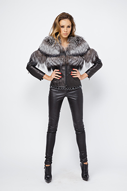 Black Leather Jacket With Fox Fur