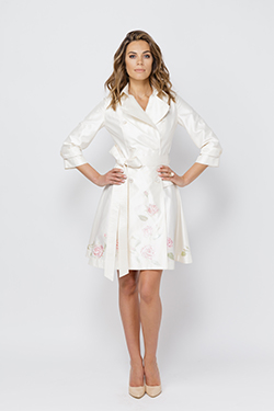 White Raincoat with flowers