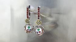 Earrings with pearls and colorful gems