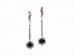 Earrings with topazes and brilliants