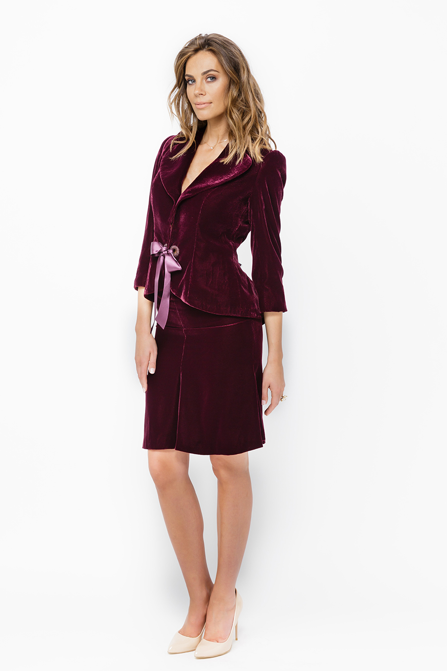 Burgundy Velvet Cherry Suit