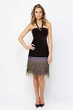 Velvet Dress With Peacock Feathers